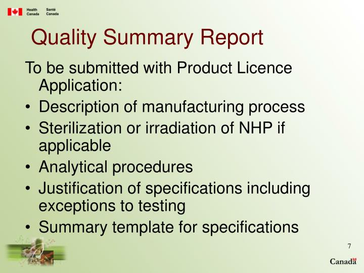 Quality Summary Report