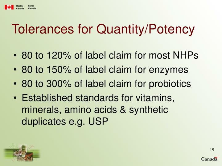 Tolerances for Quantity/Potency