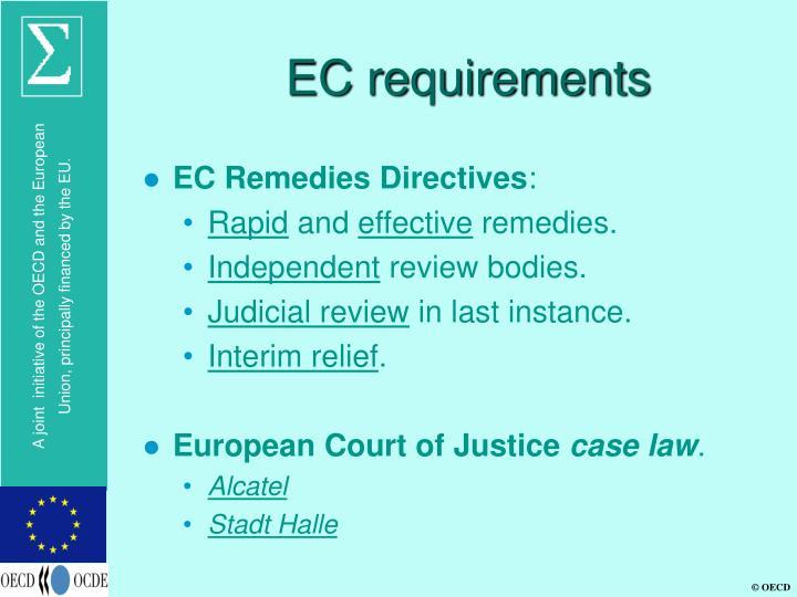 EC requirements