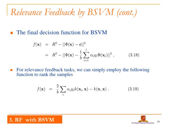 Relevance Feedback by BSVM (cont.)