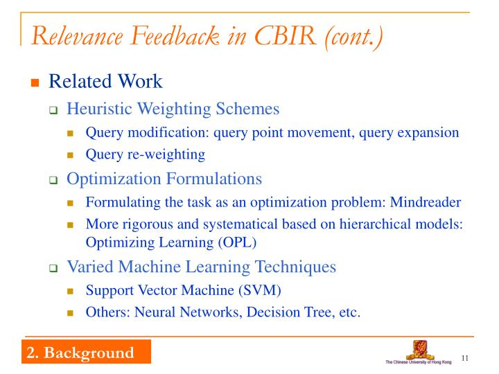 Relevance Feedback in CBIR (cont.)