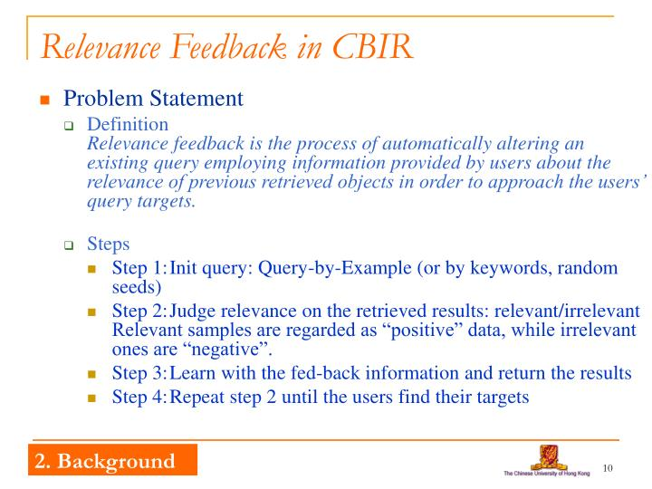 Relevance Feedback in CBIR
