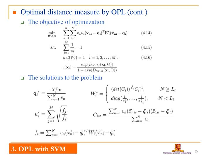 Optimal distance measure by OPL (cont.)