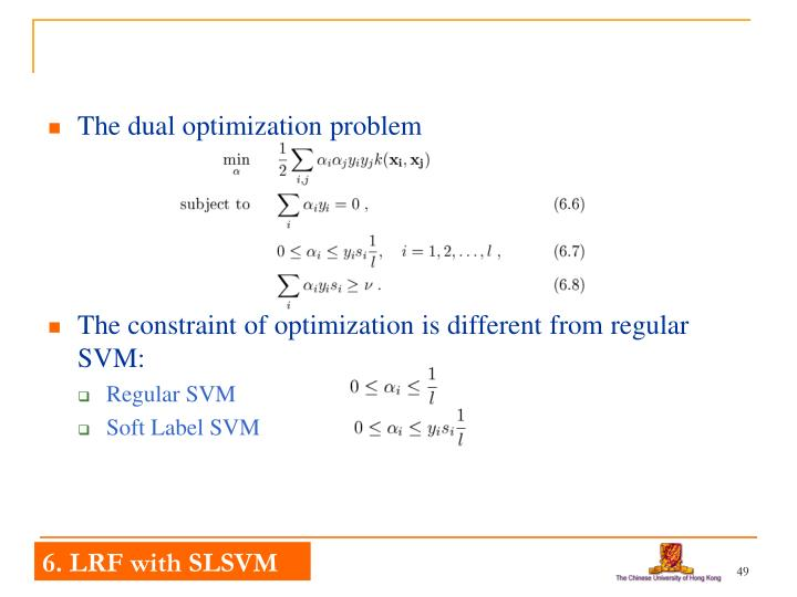 The dual optimization problem