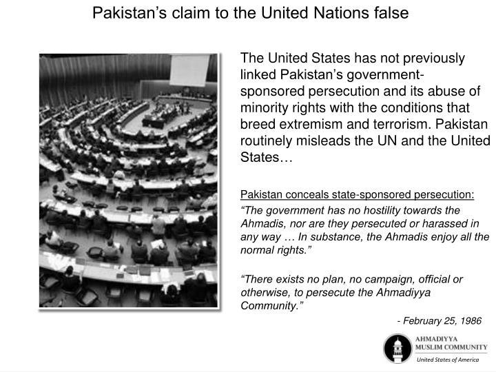 Pakistan's claim to the United Nations false