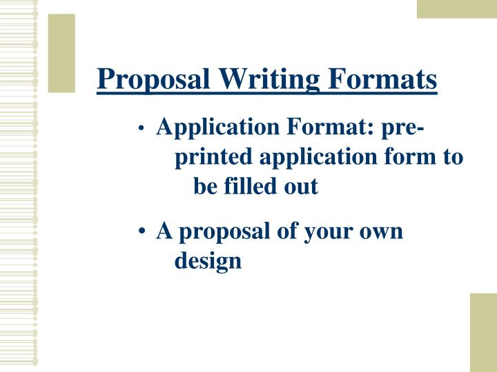 Proposal Writing Formats
