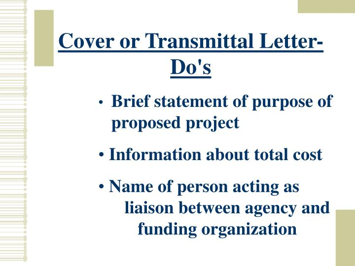 Cover or Transmittal Letter- Do's