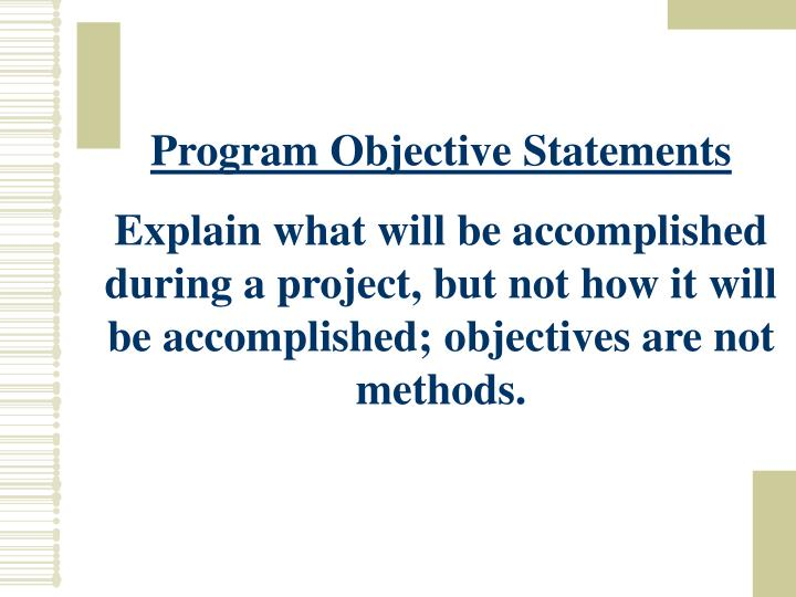 Program Objective Statements
