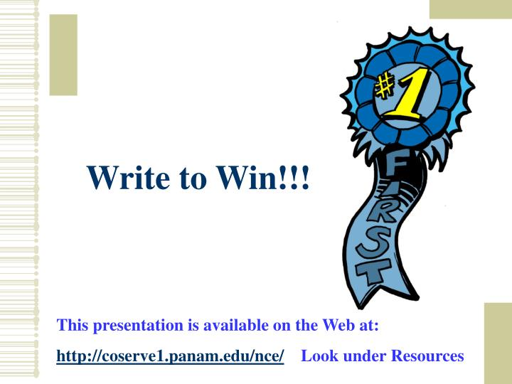 Write to Win!!!