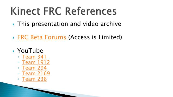 Kinect FRC References