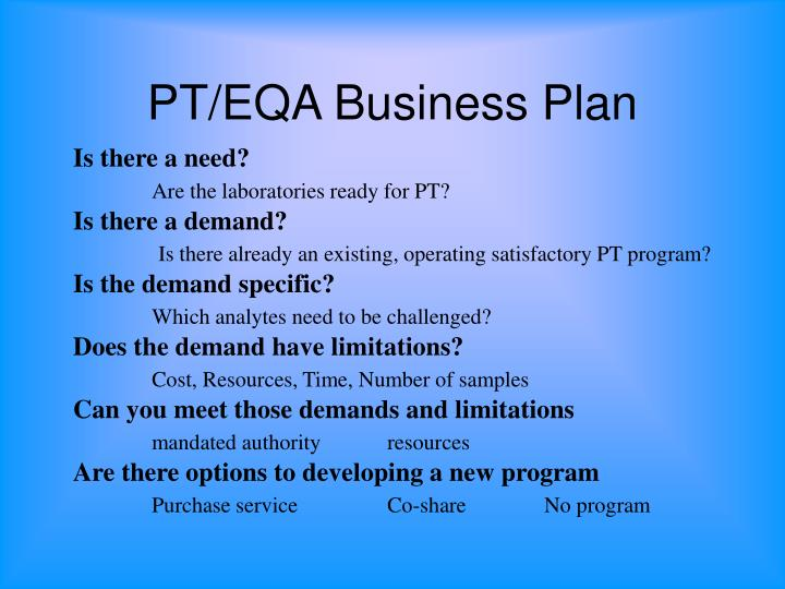 PT/EQA Business Plan