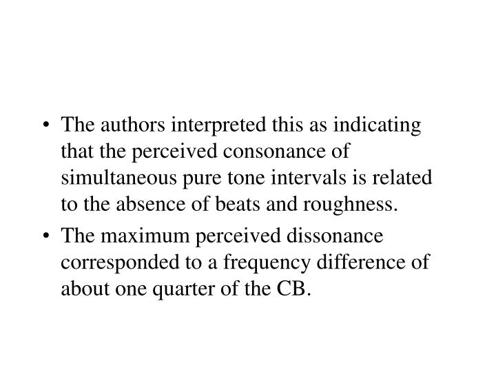 The authors interpreted this as indicating that the perceived consonance of simultaneous pure tone intervals is related to the absence of beats and roughness.