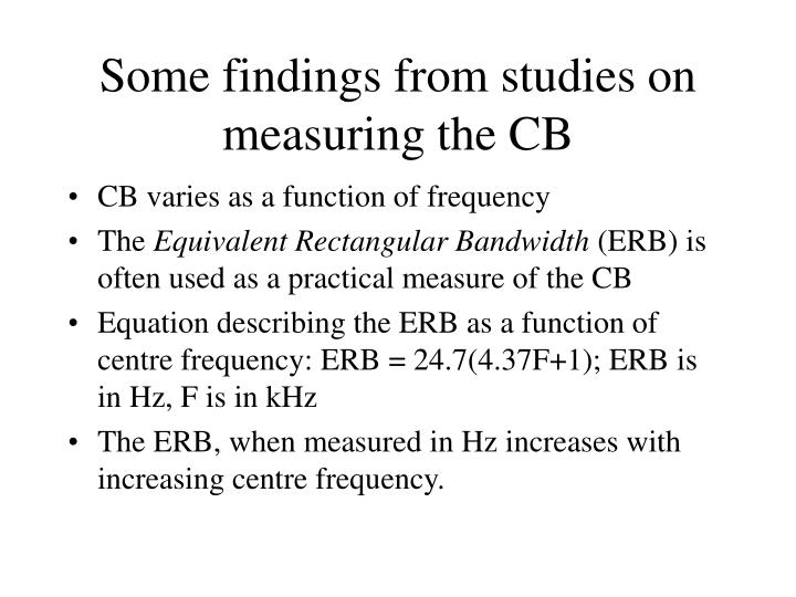 Some findings from studies on measuring the CB