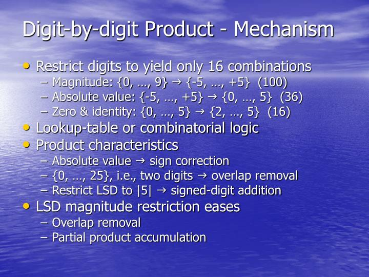 Digit-by-digit Product - Mechanism
