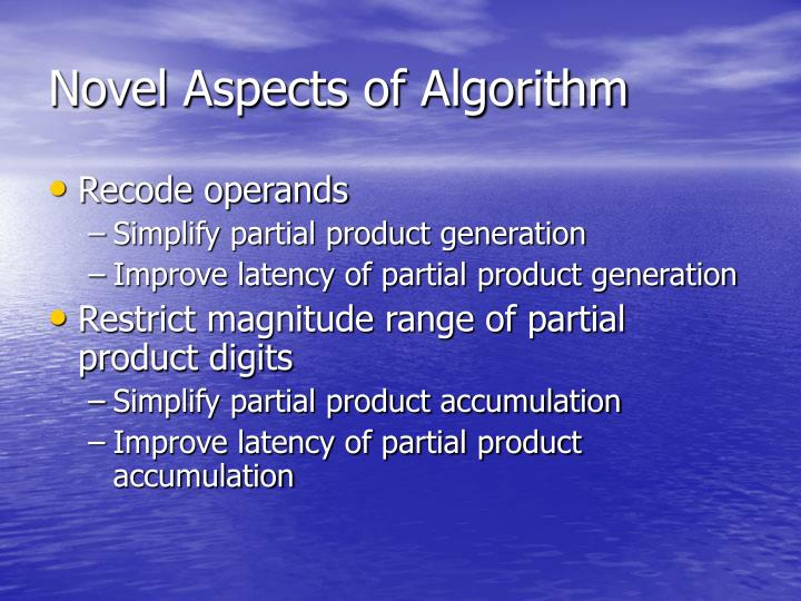 Novel Aspects of Algorithm