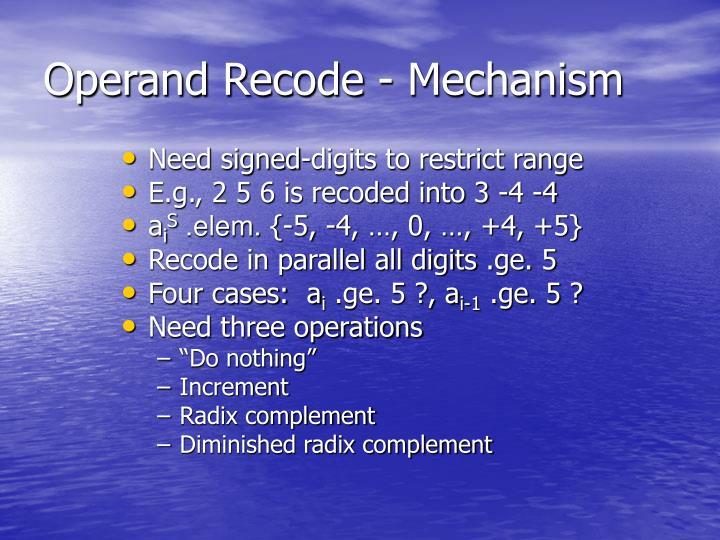 Operand Recode - Mechanism