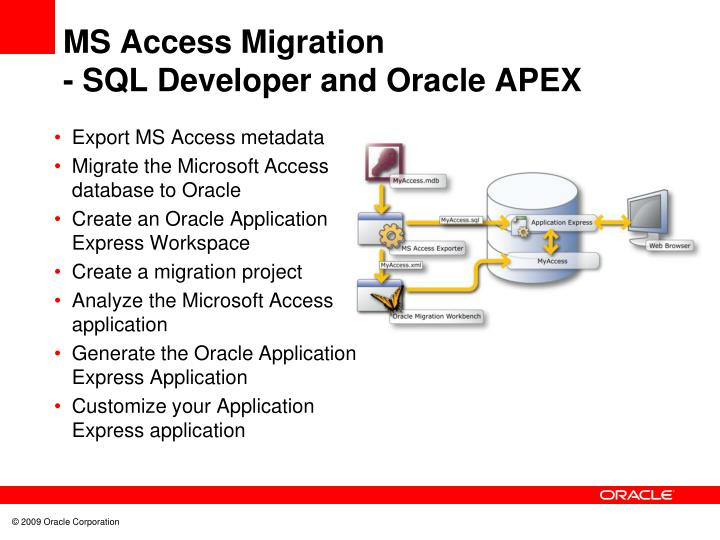Ms access migration sql developer and oracle apex