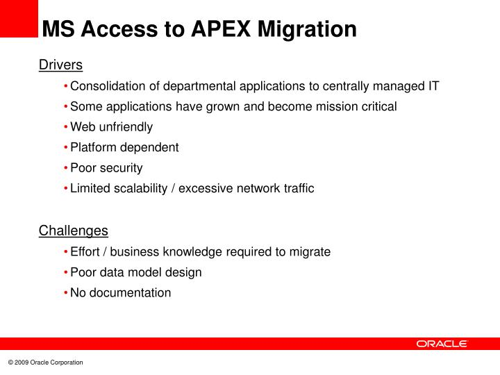 MS Access to APEX Migration