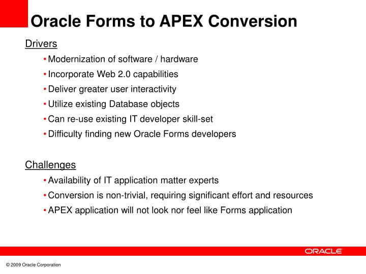 Oracle Forms to APEX Conversion