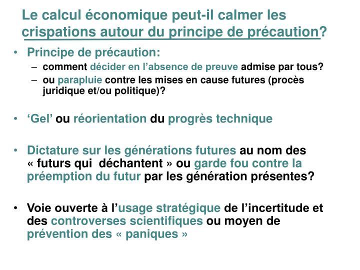 Le calcul économique peut-il calmer les crispations autour du principe de précaution?