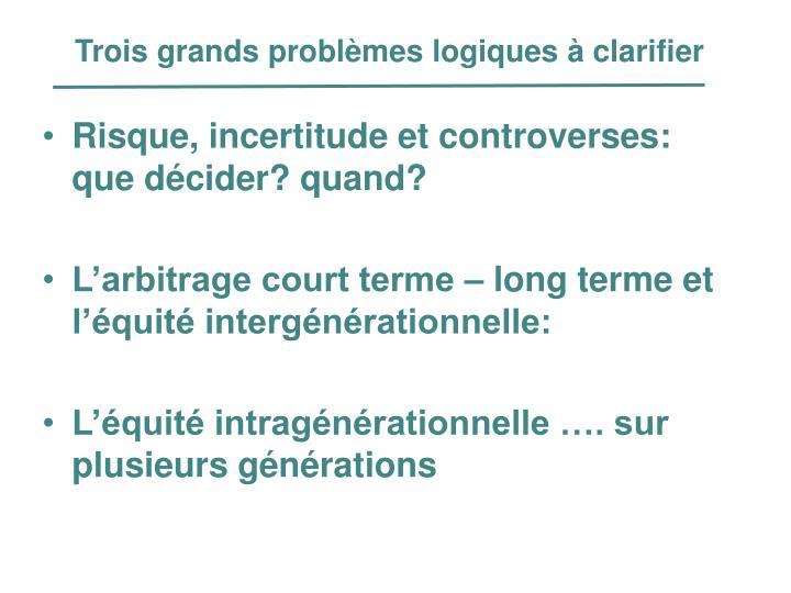 Trois grands problèmes logiques à clarifier