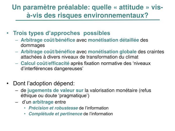 Un paramètre préalable: quelle «attitude» vis-à-vis des risques environnementaux?
