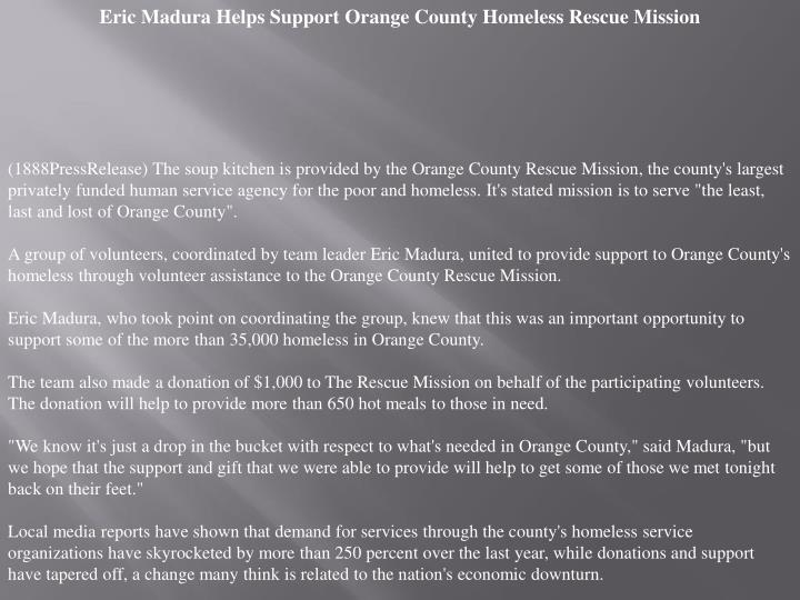 Eric Madura Helps Support Orange County Homeless Rescue Mission