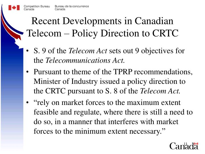 Recent Developments in Canadian Telecom – Policy Direction to CRTC
