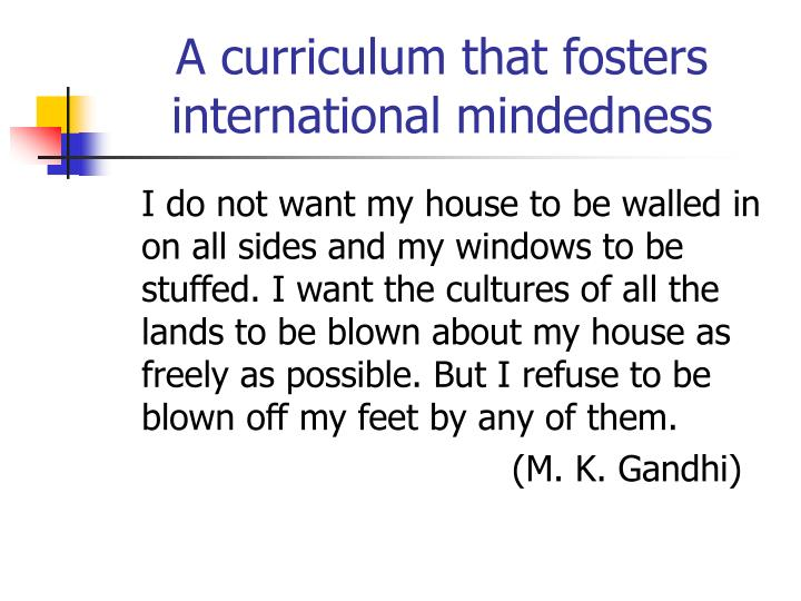 A curriculum that fosters