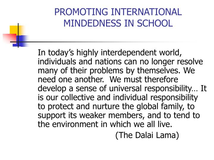 Promoting international mindedness in school