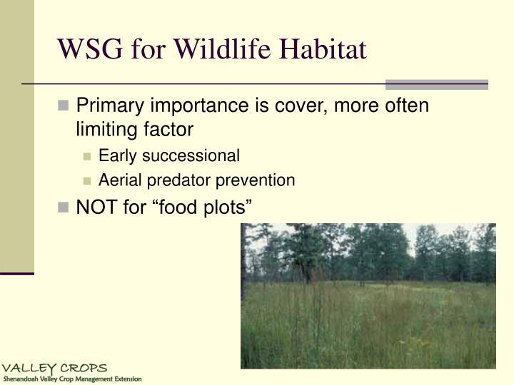 WSG for Wildlife Habitat