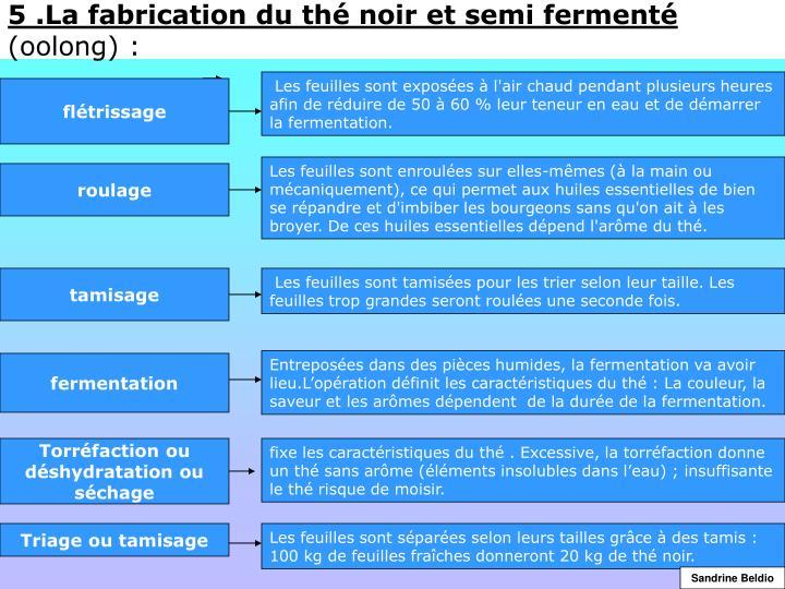 5 .La fabrication du thé noir et semi fermenté