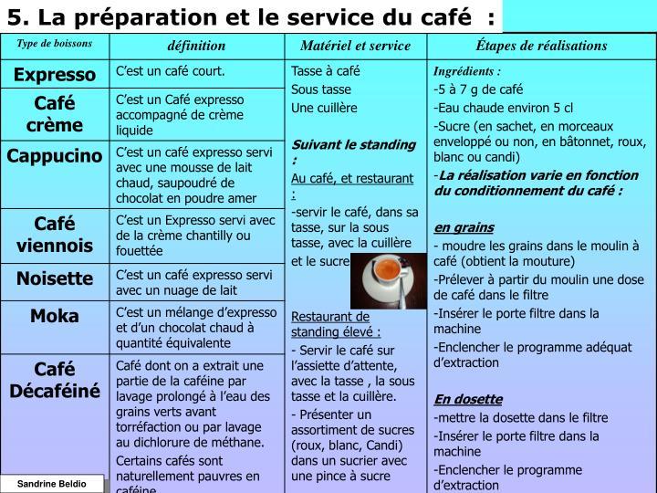 5. La préparation et le service du café  :