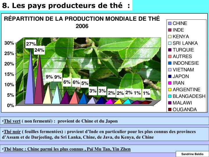 8. Les pays producteurs de thé  :