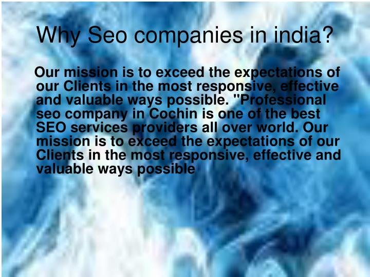 Why Seo companies in india?