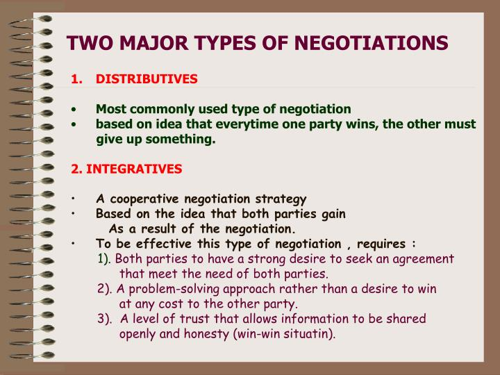 TWO MAJOR TYPES OF NEGOTIATIONS