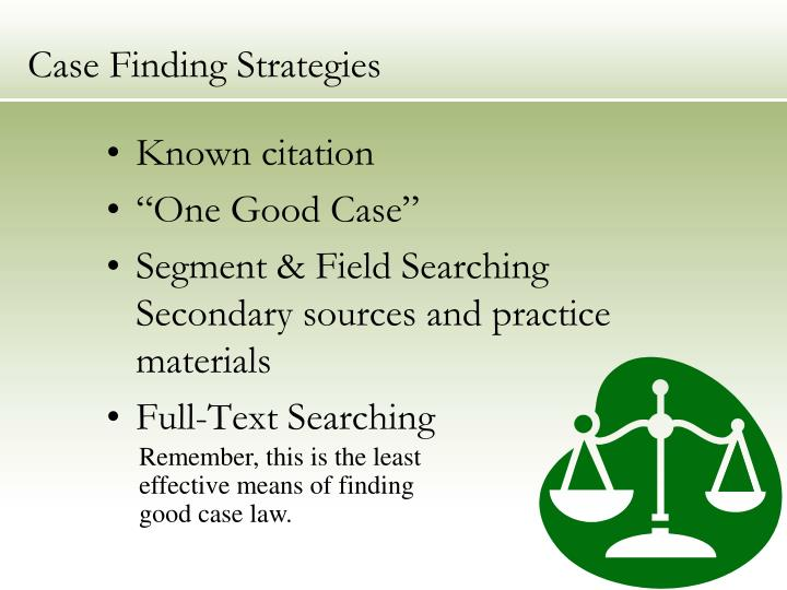 Case Finding Strategies