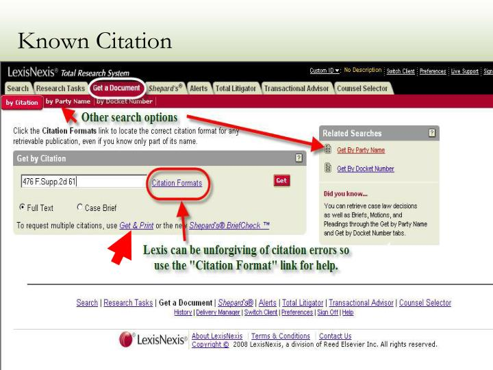 Known Citation