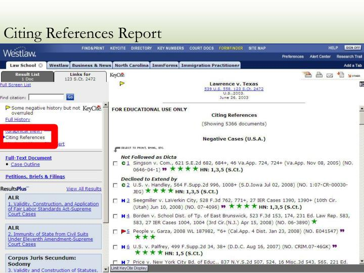 Citing References Report