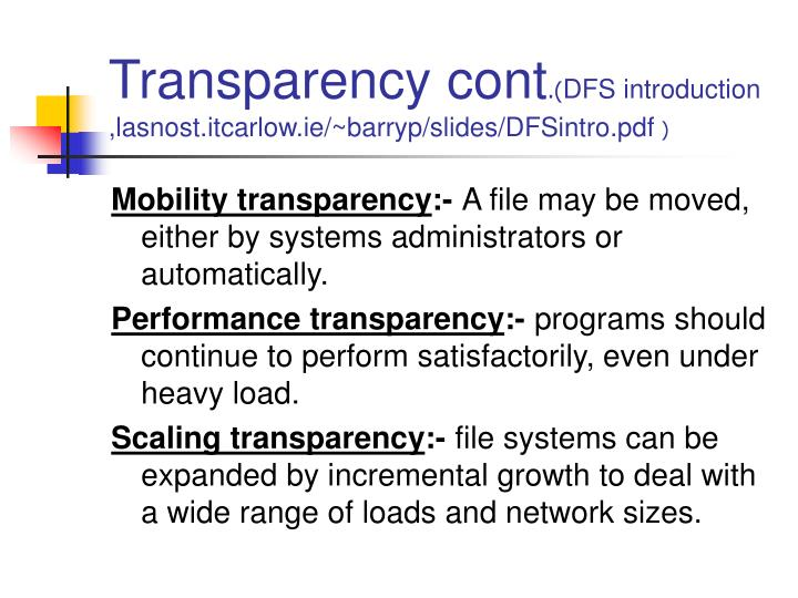 Transparency cont
