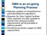 gma is an on going planning process