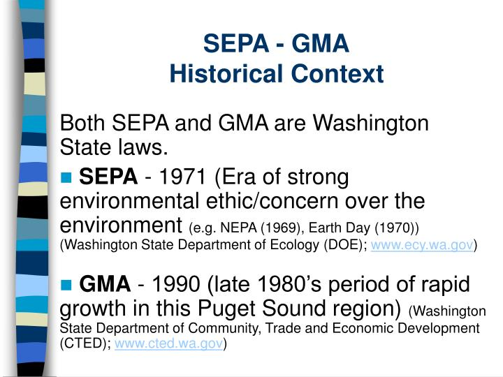 Sepa gma historical context