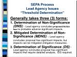 sepa process lead agency issues threshold determination