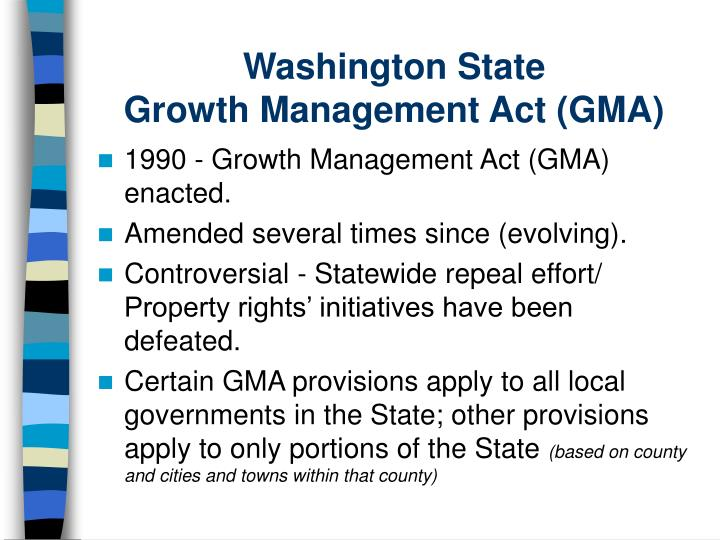 Washington state growth management act gma