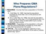 who prepares gma plans regulations