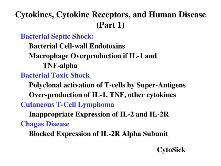 Cytokines, Cytokine Receptors, and Human Disease