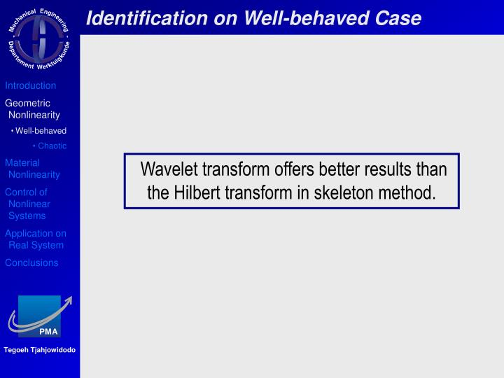 Identification on Well-behaved Case