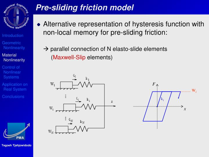 Pre-sliding friction model
