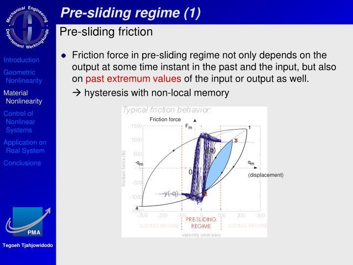 Pre-sliding regime (1)