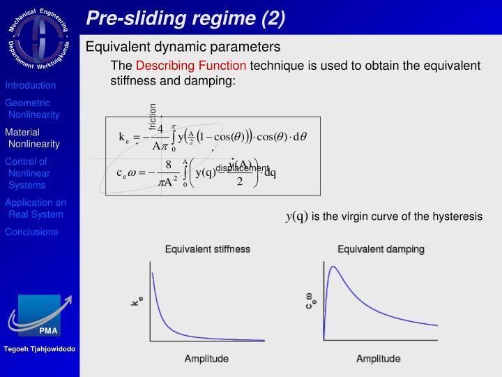 Pre-sliding regime (2)